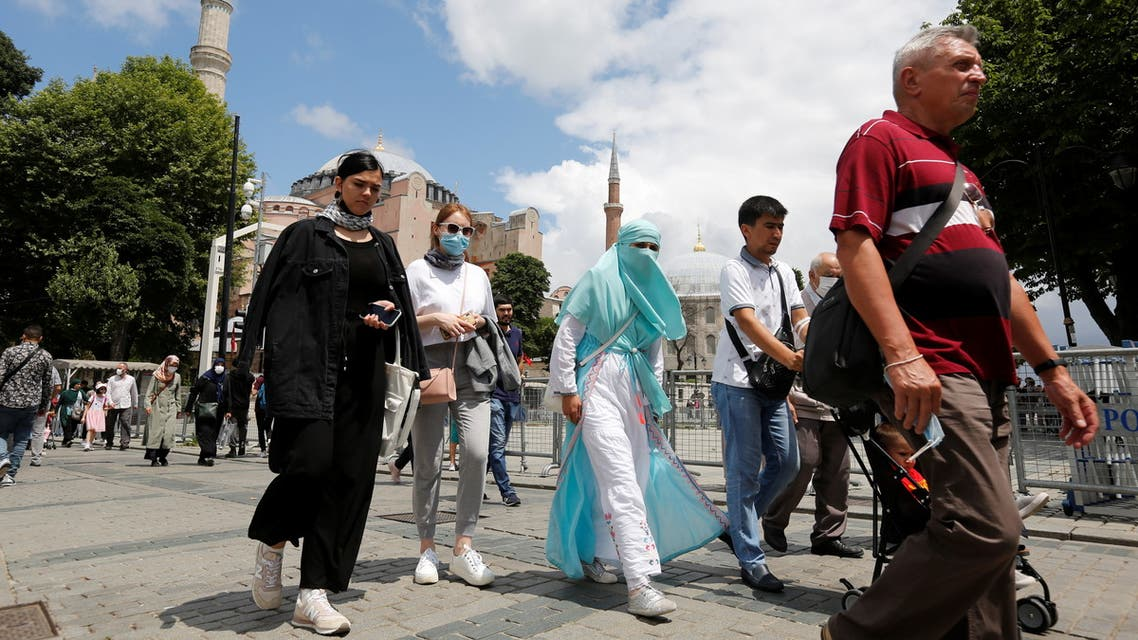 Tourists visit the Old City in Istanbul, Turkey July 8, 2021. Picture taken July 8, 2021. (Reuters)