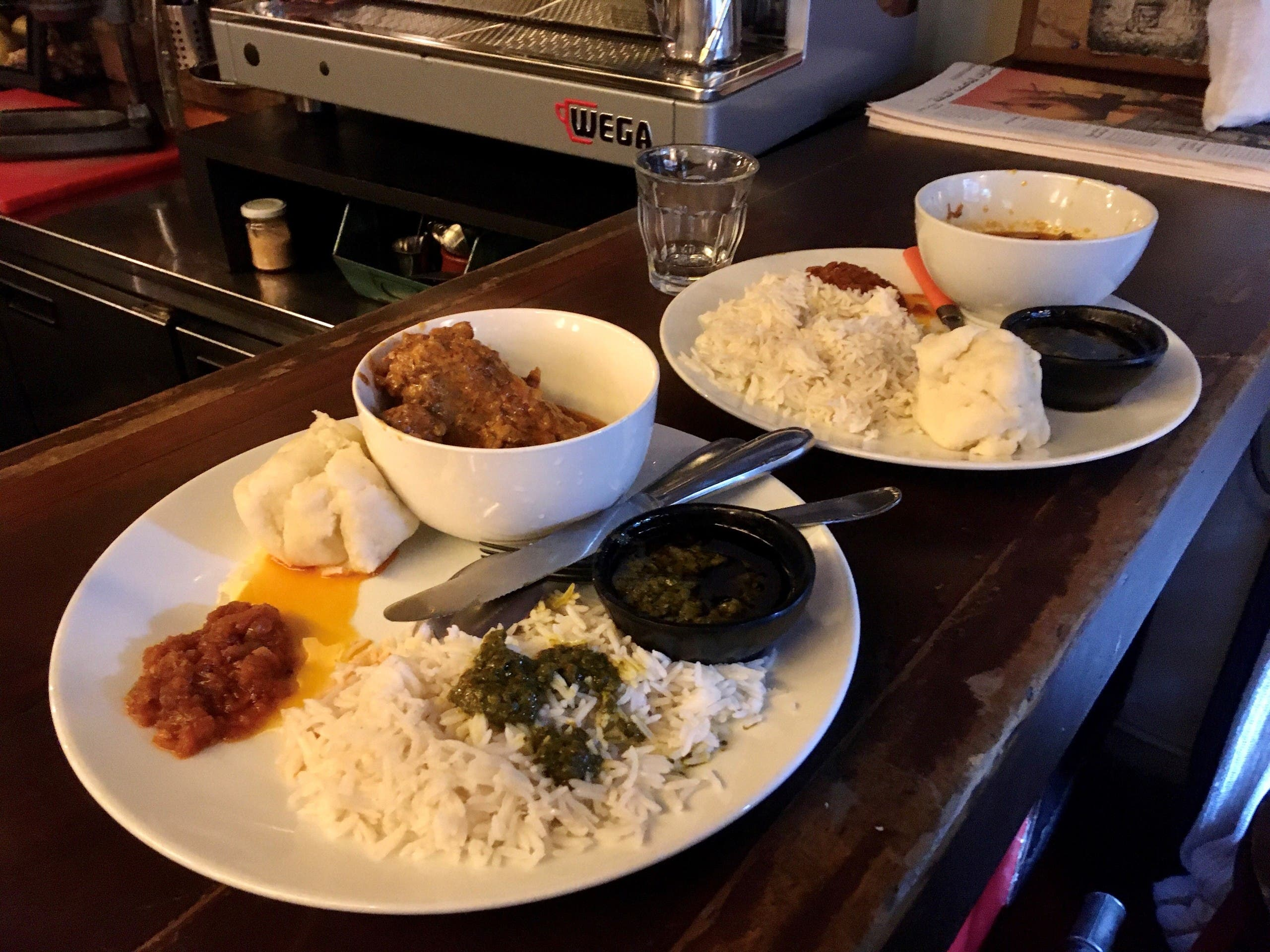 Chef Mariam Sesay's menu consisted of groundnut soup, cassava leaf, foo-foo, fried chicken and vegetable stewmenu consisted of groundnut soup, cassava leaf, foo-foo, fried chicken and vegetable stew. (Image: Robert McKelvey)