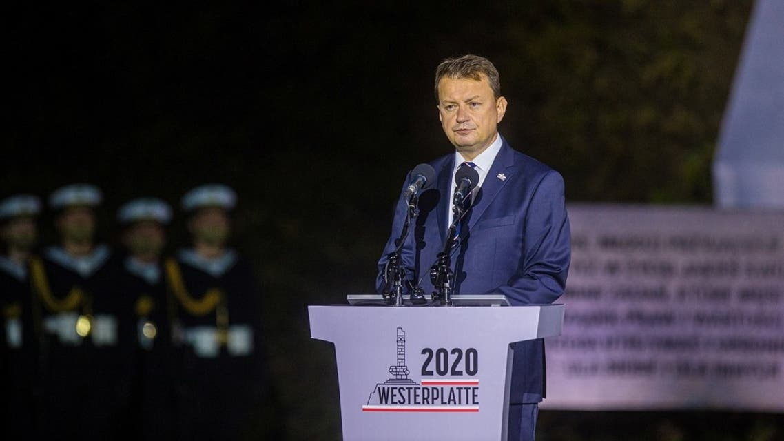 Poland's Minister of Defense Mariusz Blaszczak delivers a speech during a commemorative ceremony to mark the 81st anniversary of the outbreak of World War Two at Westerplatte Memorial in Gdansk, Poland, on September 1, 2020. (Reuters)