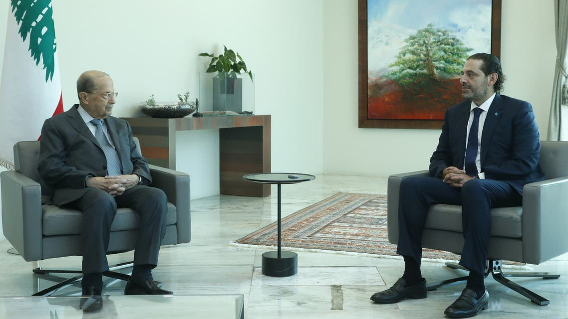 Lebanon's President Michel Aoun meets with Lebanese Prime Minister-Designate Saad al-Hariri at the presidential palace in Baabda, Lebanon July 14, 2021. (Reuters)