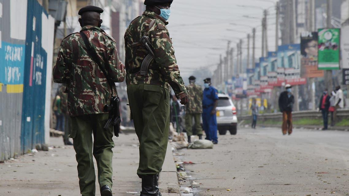 Kenyan police officers patrol in Eastleigh, Nairobi, on May 7, 2020. (File photo: AFP)