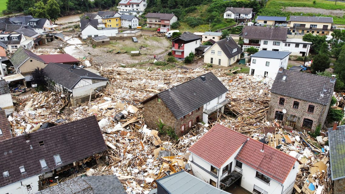 A general view of flood-affected area following heavy rainfalls in Schuld, Germany, on July 15, 2021. (Reuters)