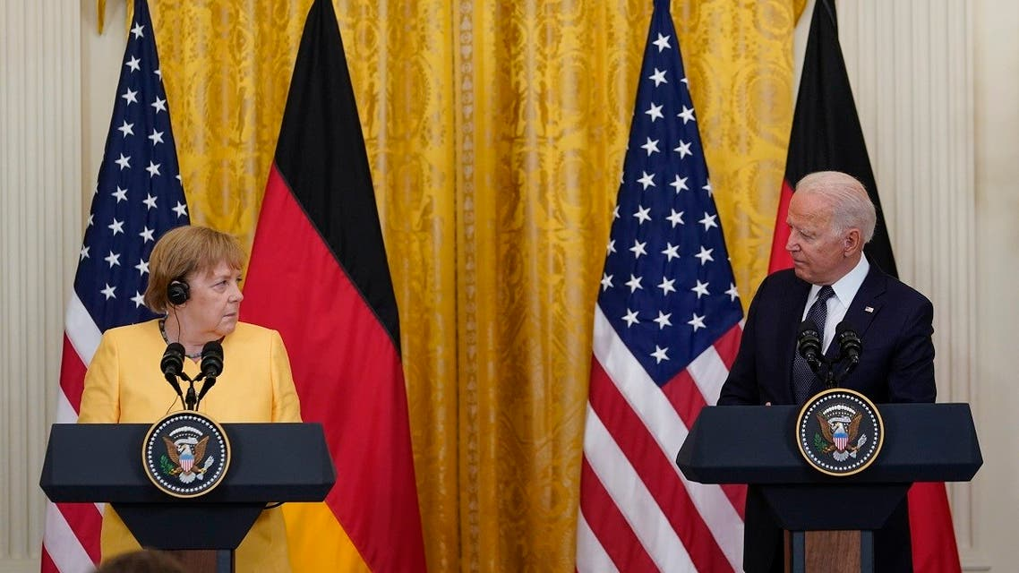 President Joe Biden and German Chancellor Angela Merkel during a news conference at the White House, July 15, 2021. (AP)