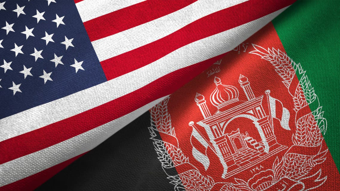 Afghanistan and United States two flags together realations textile cloth fabric texture stock photo