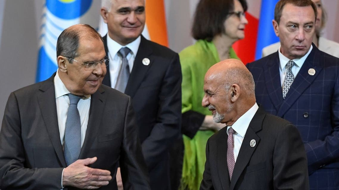 Afghanistan's President Ashraf Ghani and Russia's Foreign Minister Sergei Lavrov attend the Central-South Asia trade Summit in Tashkent, Uzbekistan, on July 16, 2021. (Reuters)