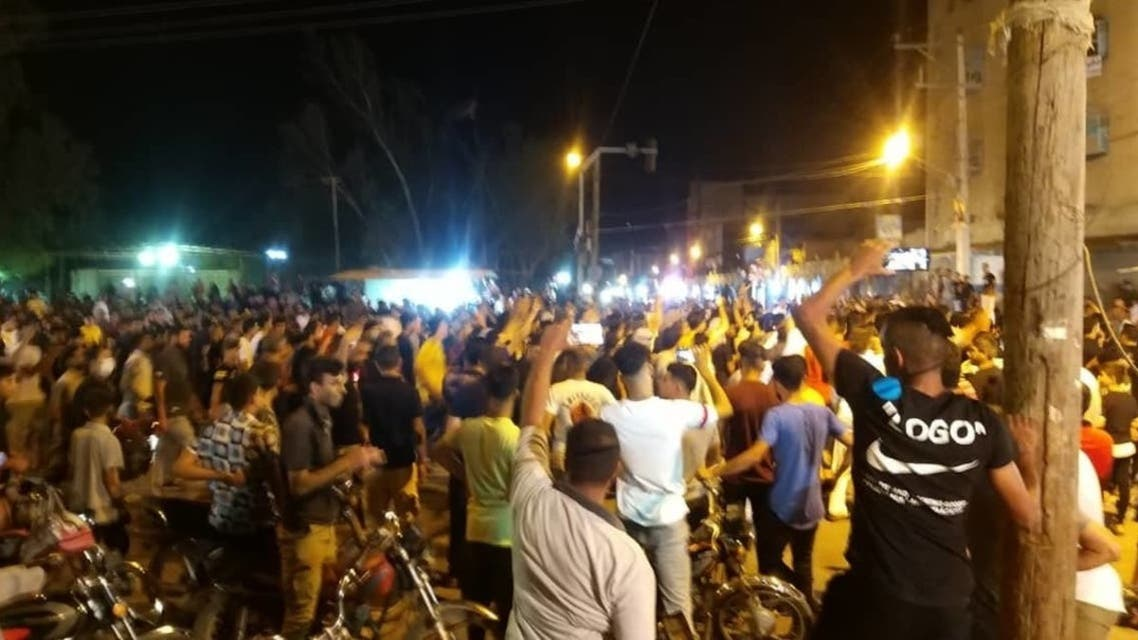 Protesters angry over water shortages marched through streets late Thursday in an oil-rich, restive province in southwestern Iran. (Supplied)