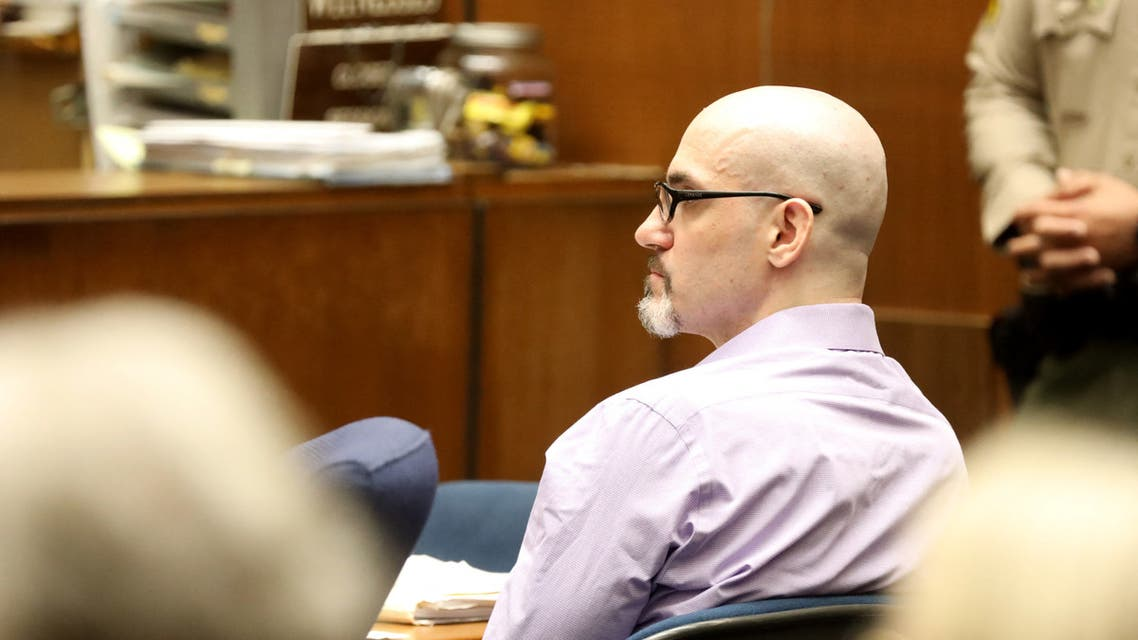 Serial killer Michael Gargiulo, known as the Hollywood Ripper, listens as Ashton Kutcher testifies during Gargiulo's trial at the Clara Shortridge Foltz Criminal Justice Center on May 29, 2019 in Los Angeles, California. (AFP)