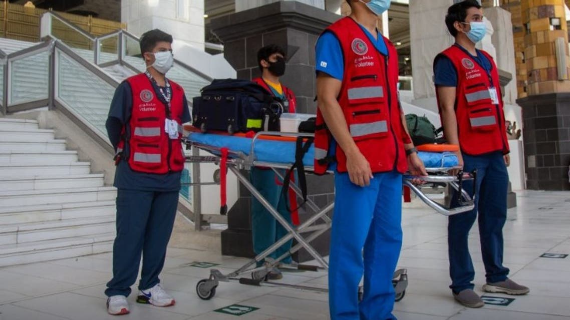 Medical volunteers at Hajj 2021, provided by Saudi Red Crescent Authority (SRCA). (Twitter)