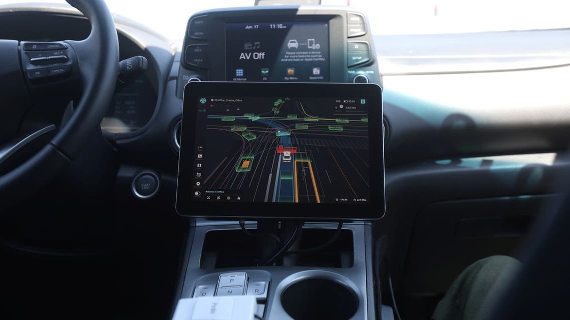 A screen showing traffic and other objects is seen inside a vehicle equipped with Pony.ai's self-driving technology during a demonstration in Fremont, California, U.S. June 17, 2021. Picture taken June 17, 2021. (Reuters)