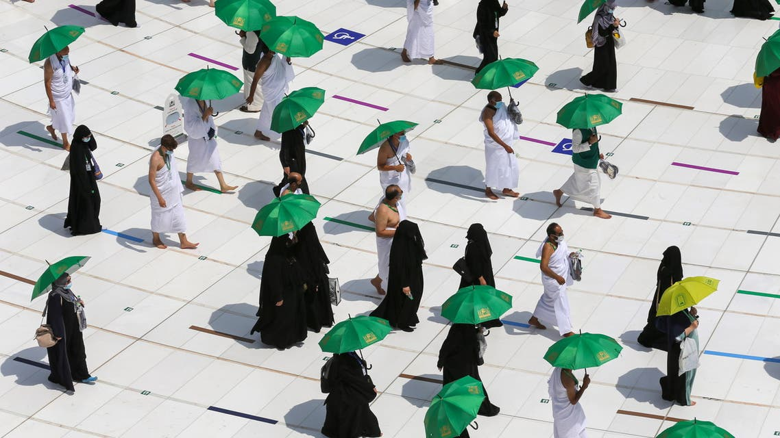 Muslim pilgrims perform Tawaf around Kaaba in the Grand Mosque in the holy city of Mecca, Saudi Arabia July 17, 2021. (Reuters)