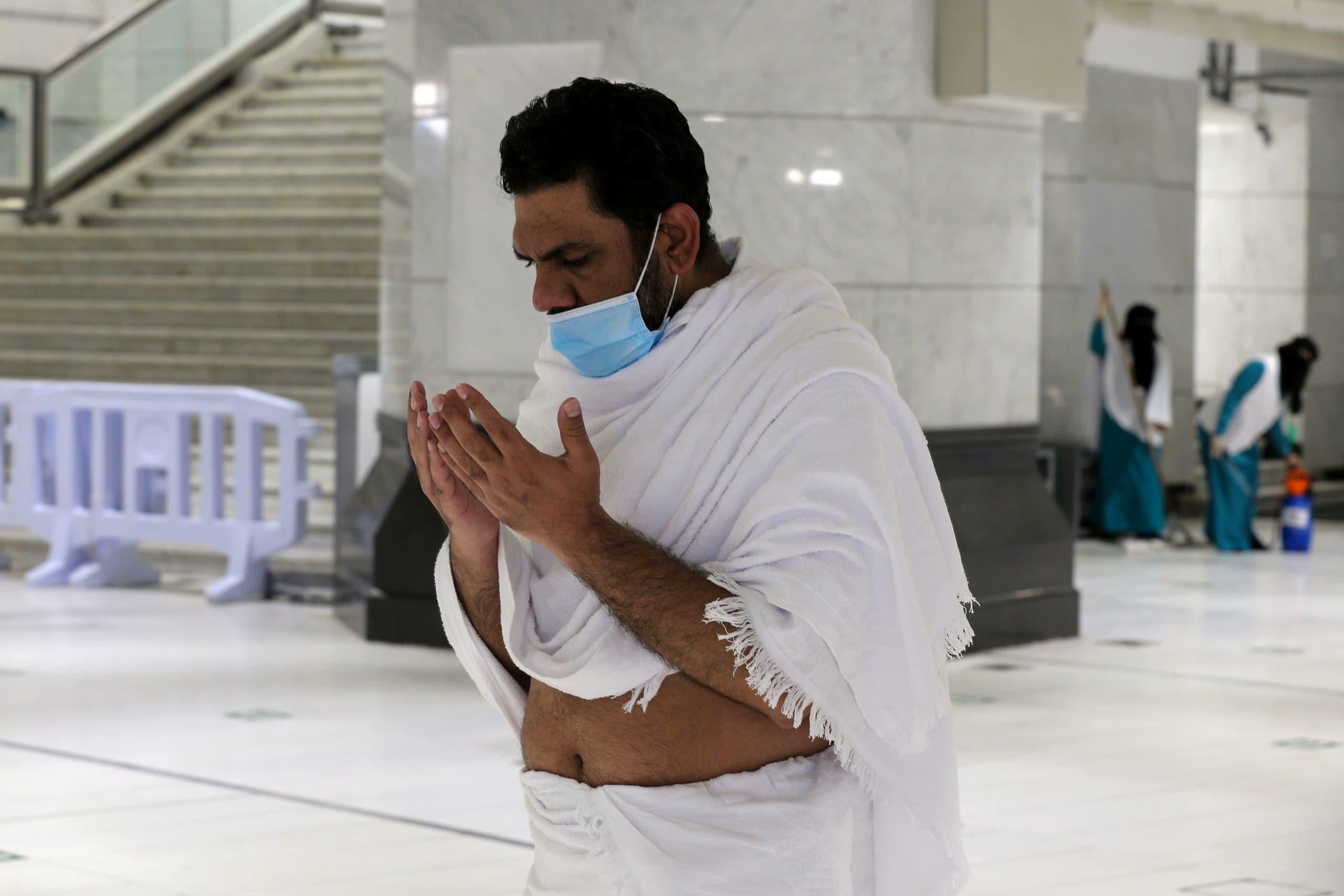A Muslim pilgrim prays in the Grand Mosque in the holy city of Mecca, Saudi Arabia July 17, 2021. (Reuters)