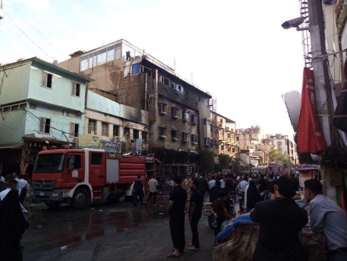 حريق فندق في كربلاء (تويتر)