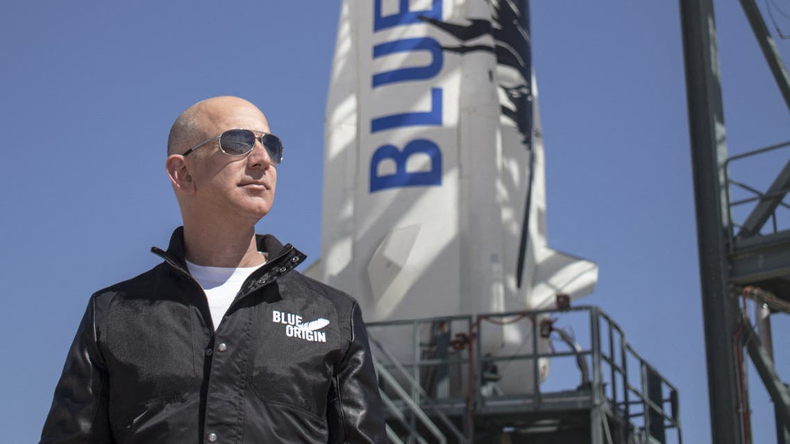 This file handout photo taken on April 24, 2015 obtained courtesy of Blue Origin shows Jeff Bezos, founder of Blue Origin, at New Shepard's West Texas launch facility before the rocket's maiden voyage. (AFP)