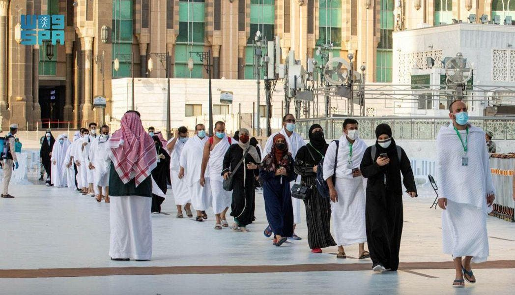 Pilgrims arrive at the Grand Holy Mosque for Hajj. (SPA)