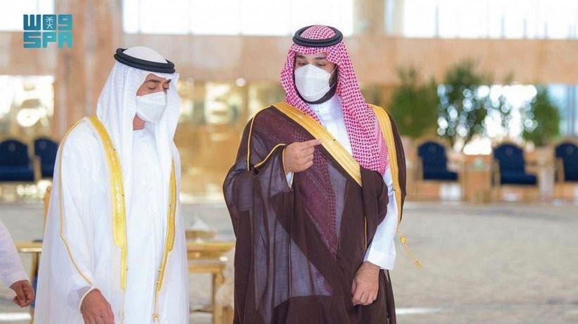Abu Dhabi Crown Prince Mohammed bin Zayed al-Nahyan, left, meets with Saudi Arabia's Crown Prince Mohammed bin Salman, right, in Riyadh on Monday 19 July 2021. (SPA)