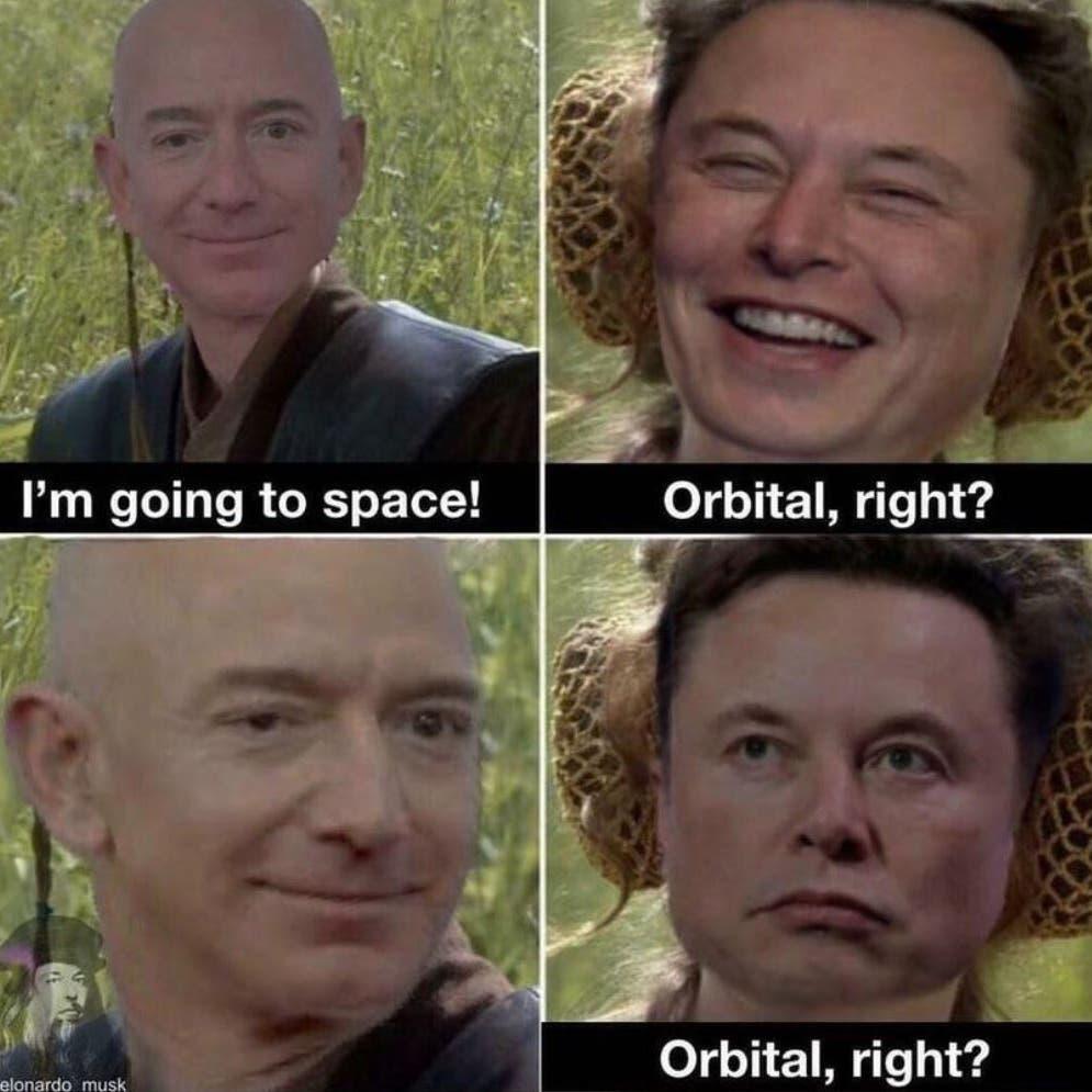 """ماسك يسخر من بيزوس مجدداً.. """"سيلمس حافة الفضاء فقط""""!"""