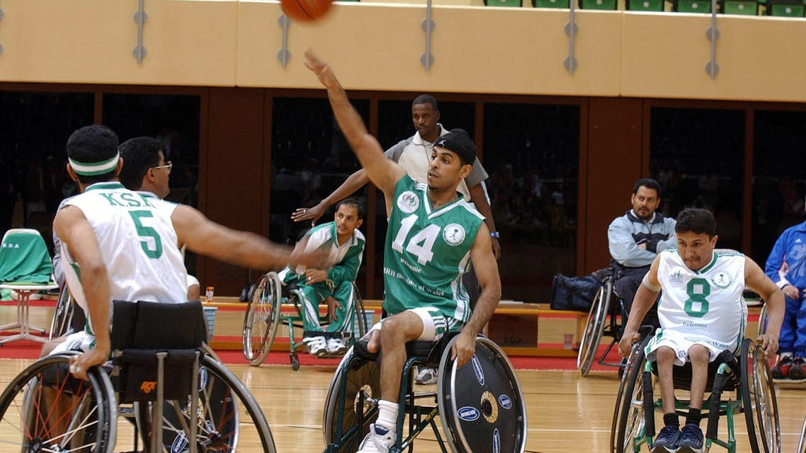 Saudi Arabian wheelchair-bound basketball teams train at the Saudi Sports Federation for Special Needs complex, on the outskirts of the capital Riyadh, where the Prince of Wales was visiting, 10 February 2004. (File photo: AFP)