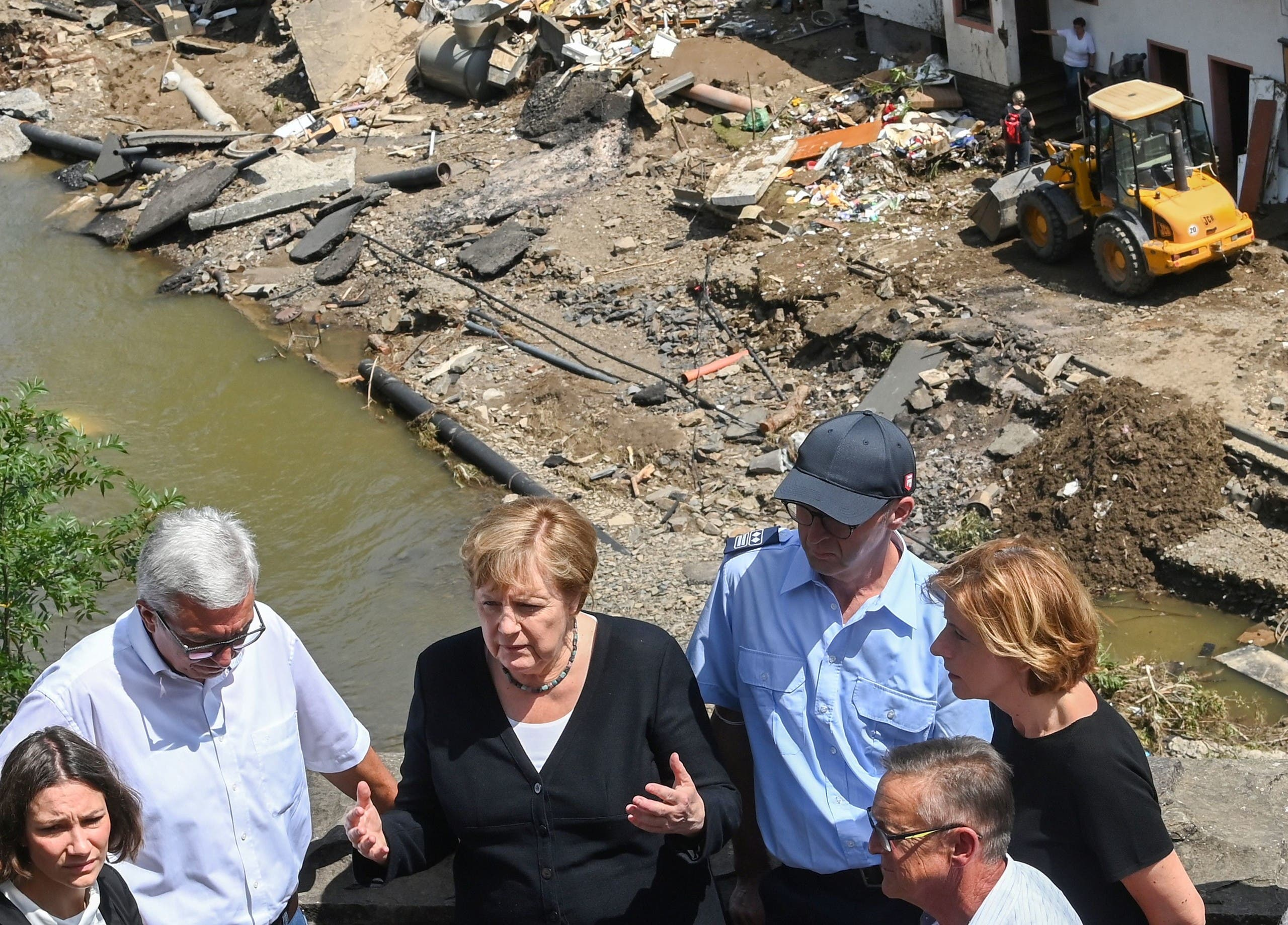 Merkel during her visit to the affected area