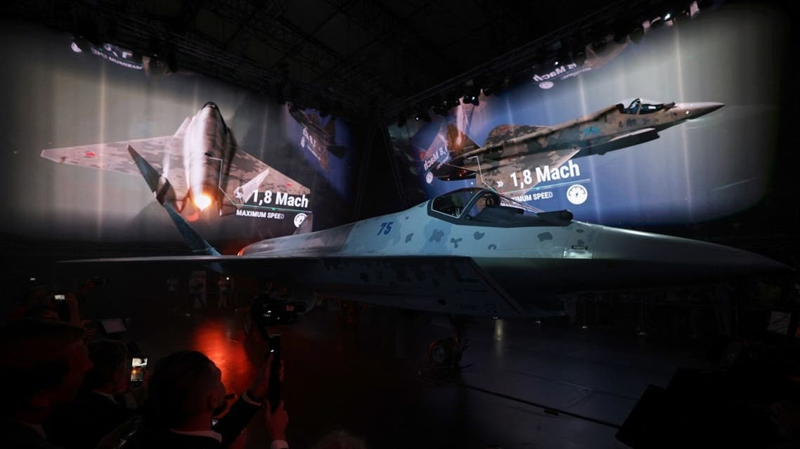 A prototype of Russia's new Sukhoi Checkmate Fighter is on display during the presentation at the MAKS 2021 International Aviation and Space Salon, in Zhukovsky, outside Moscow, on July 20, 2021. (Reuters)