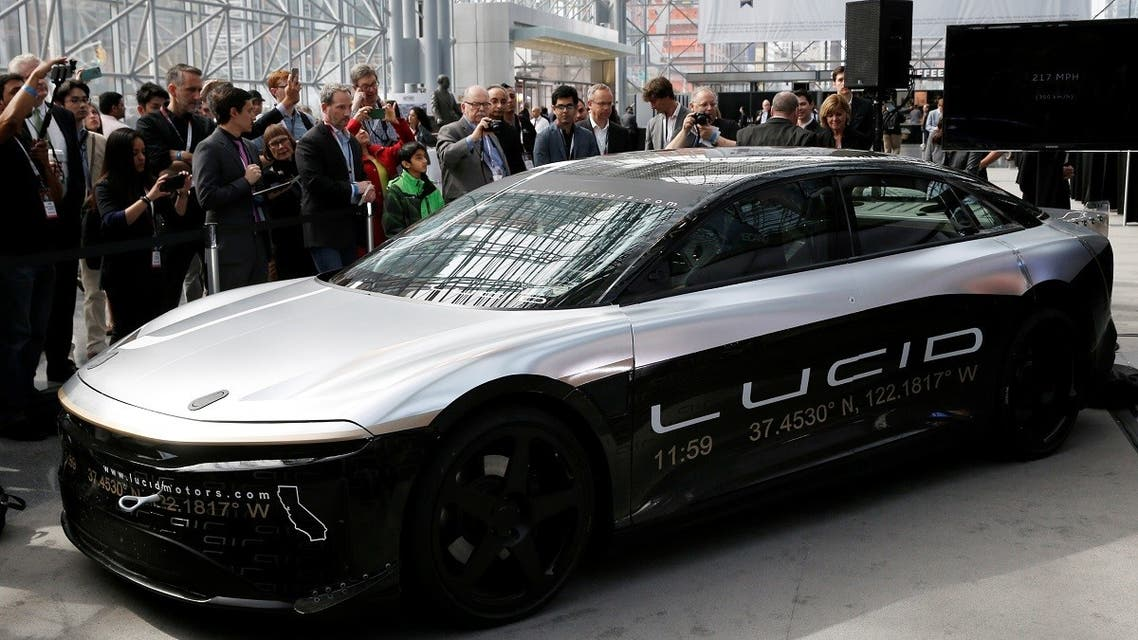 The Lucid Air speed test car is displayed at the 2017 New York International Auto Show in New York City, US, on April 13, 2017. (Reuters)