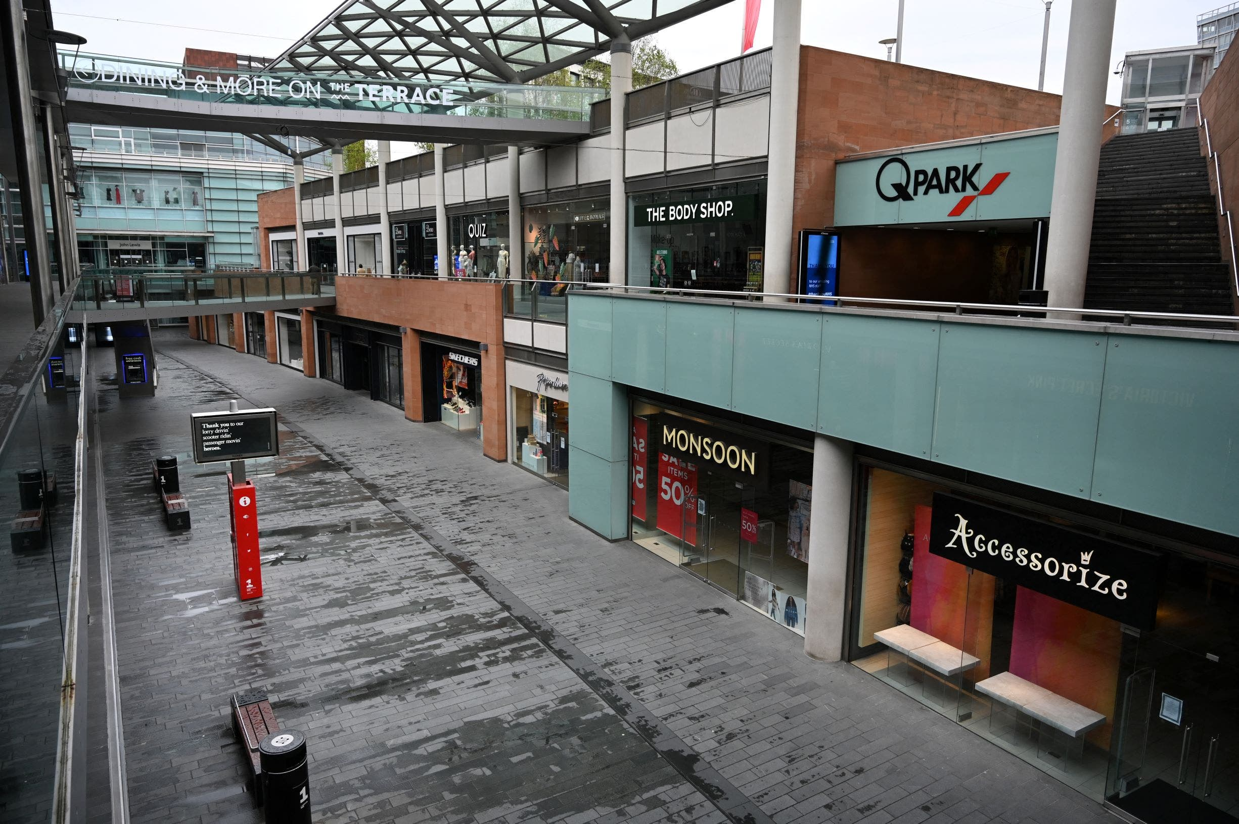 Shops are closed and the shopping centre seen empty during the nationwide lockdown because of the novel coronavirus outbreak in the centre of Liverpool, northwest England, on April 18, 2020. (AFP)