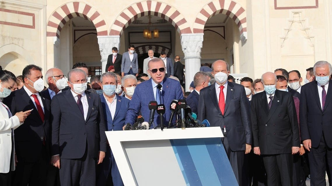 Turkish President Tayyip Erdogan addresses the media after attending Eid al-Adha prayers during the second day of his official visit to the Turkish Republic of Northern Cyprus, a breakaway state recognized only by Turkey, in northern Nicosia, Cyprus, on July 20, 2021. (Reuters)