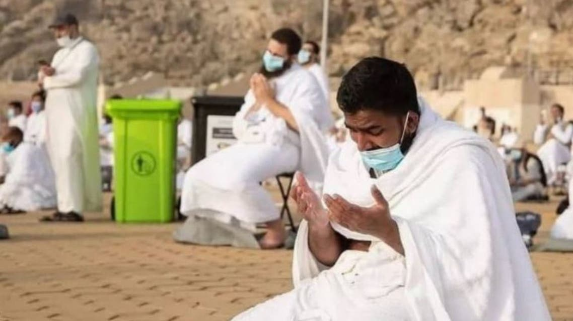 A pilgrim prays in the bottom of Mount Arafat during Hajj in Mecca, Saudi Arabia. (Photo Courtesy: The Holy Mosques)
