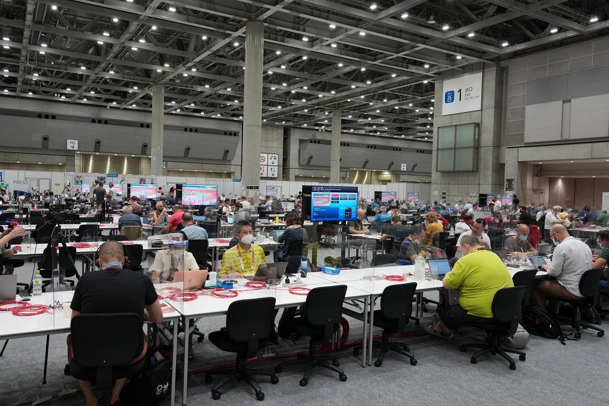 A general overall view of the press and photographers workroom at the Main Press Center (MPC) at Big Sight during the Tokyo 2020 Summer Olympic Games. (Reuters)