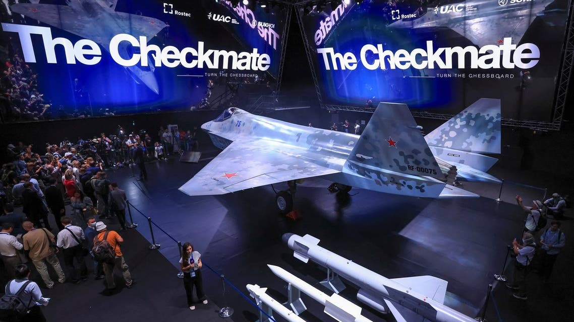 A prototype of Russia's prospective fighter jet is displayed at the MAKS-2021 International Aviation and Space Salon in Zhukovsky, Russia, July 20, 2021. Alexander Zemlianichenko/Pool via REUTERS