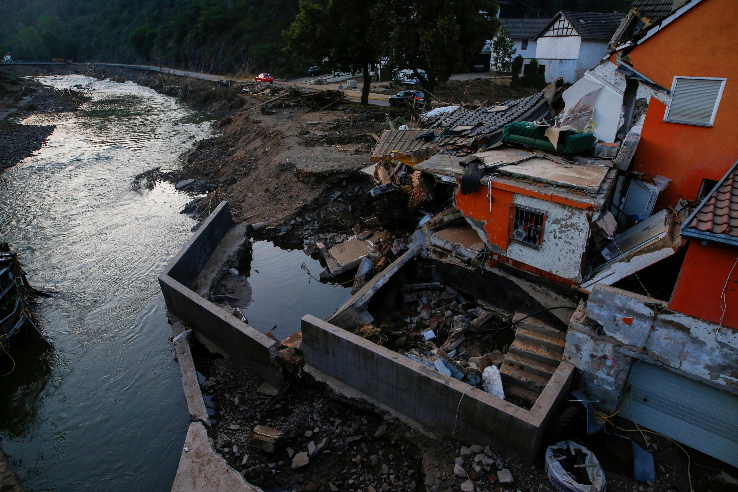 Damages are seen in an area affected by floods caused by heavy rainfalls in Schuld, Germany, July 20, 2021. (Reuters)