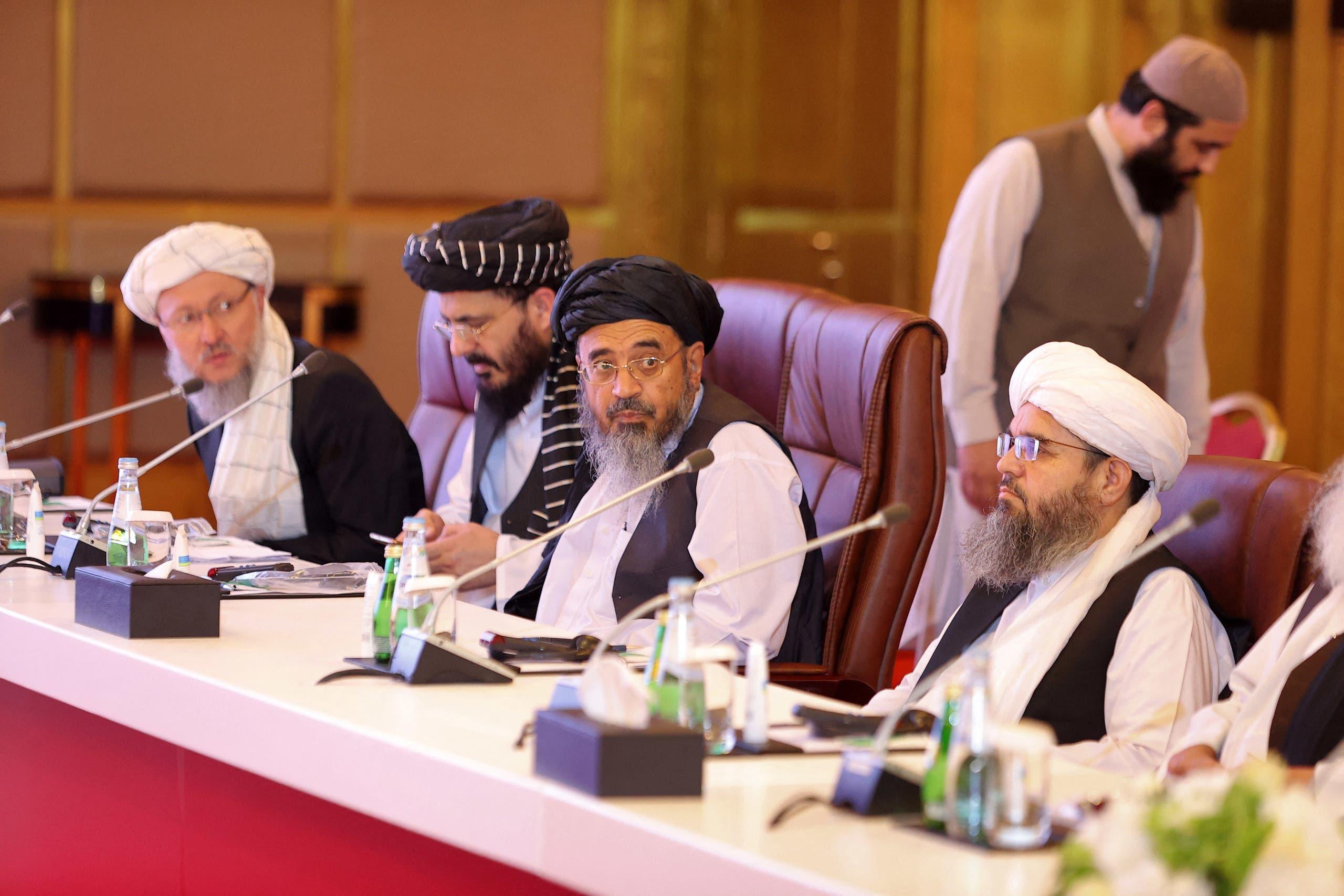 وفد طالبان في المفاوضات في الدوحة