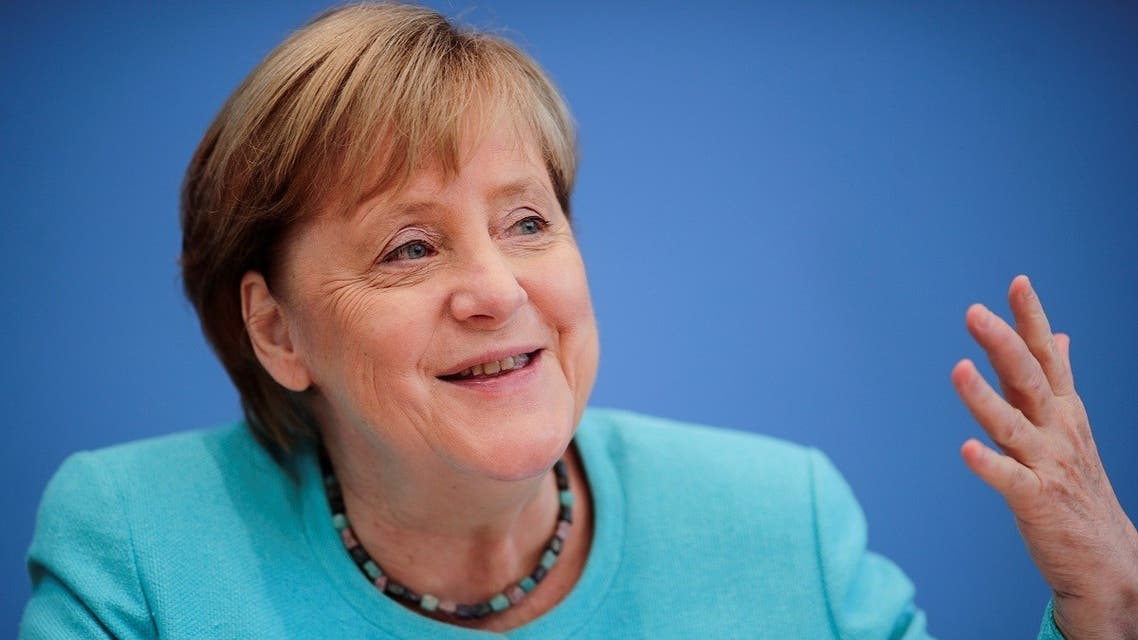 German Chancellor Angela Merkel holds her annual summer news conference in Berlin, Germany, on  July 22, 2021. (REuters)