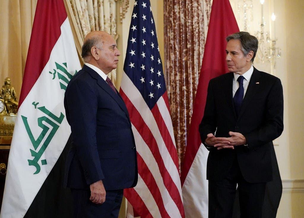 وزير الخارجية الأميركي أنتوني بلينكن ونظيره العراقي فؤاد حسين في واشنطن
