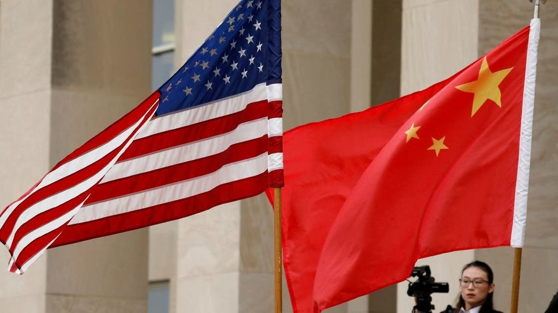 File photo of the US and Chinese flags.