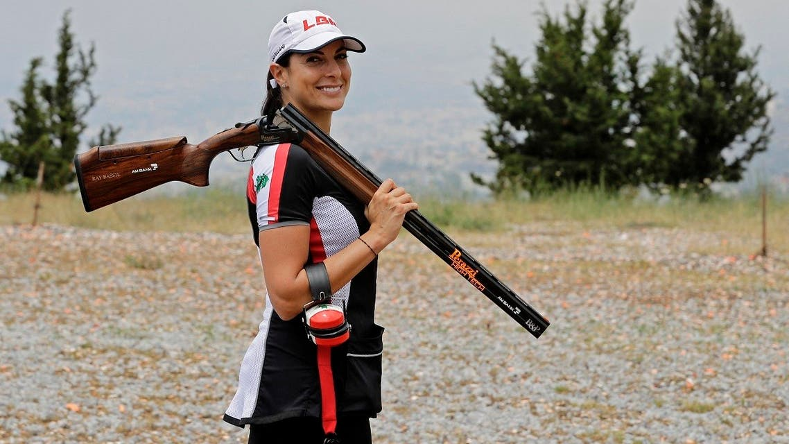 Lebanese trap shooter Ray Bassil is pictured as she trains for this summer's Tokyo Olympics at the Safra shooting range north of the capital Beirut, July 9, 2021. (AFP)