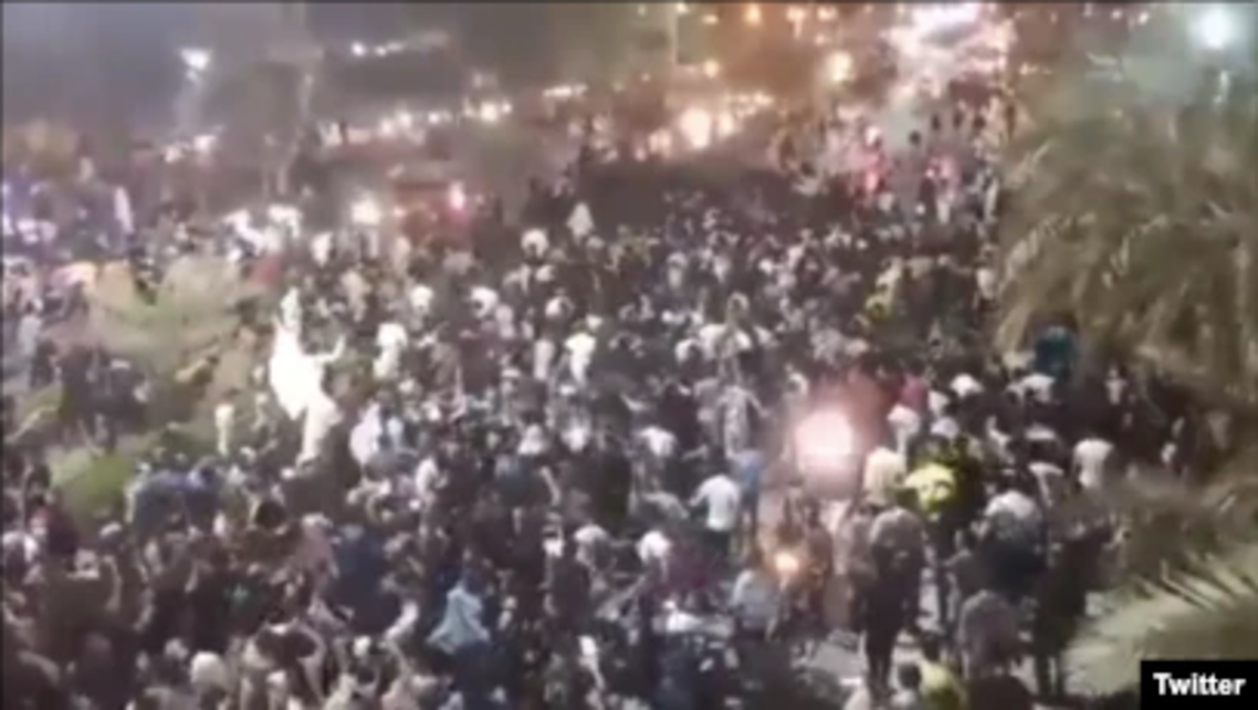 Protesters angry over water shortages marched through streets late Thursday in an oil-rich, restive province in southwestern Iran. (Twitter)