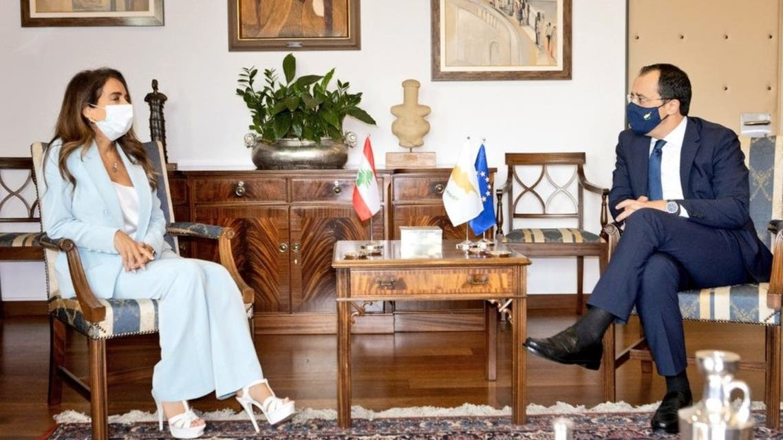 Lebanon's Deputy Prime Minister and Defense Minister Zeina Akar in talks with Cyprus Foreign Minister Nikos Christodoulides on  23 July, 2021 in Cyprus. (Twitter)