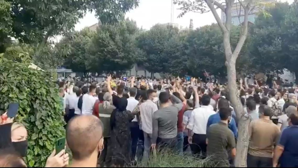 Screengrab of an unverified video circulating on social media showing protests in Tabriz, northwest Iran, on Saturday, July 24 in support of protests in the southwest of the country. (Screengrab: Twitter)