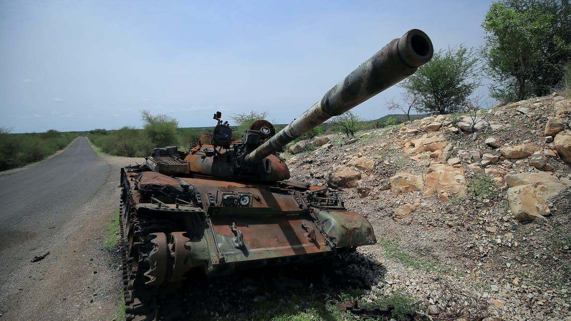 A tank damaged during the fighting between Ethiopia?s National Defense Force (ENDF) and Tigray Special Force stands on the outskirts of Humera town in Ethiopia July 1, 2021 Picture taken July 1, 2021. REUTERS/Stringer