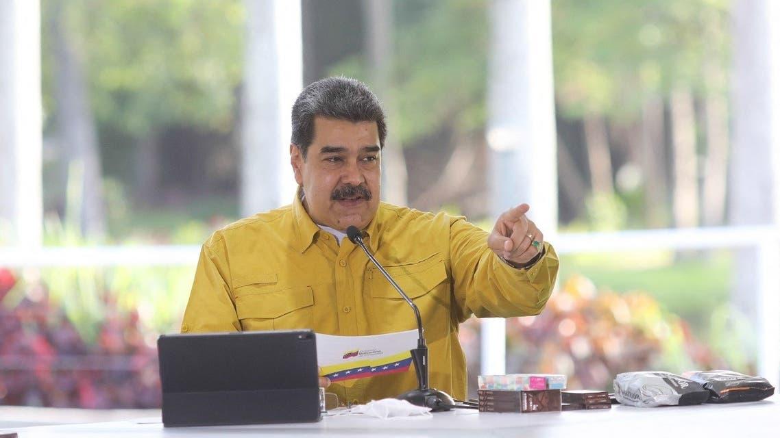 Venezuela's President Nicolas Maduro speaking during a televised message at Miraflores Presidential Palace in Caracas, on July 21, 2021. (Handout/Venezuelan Presidency/AFP)