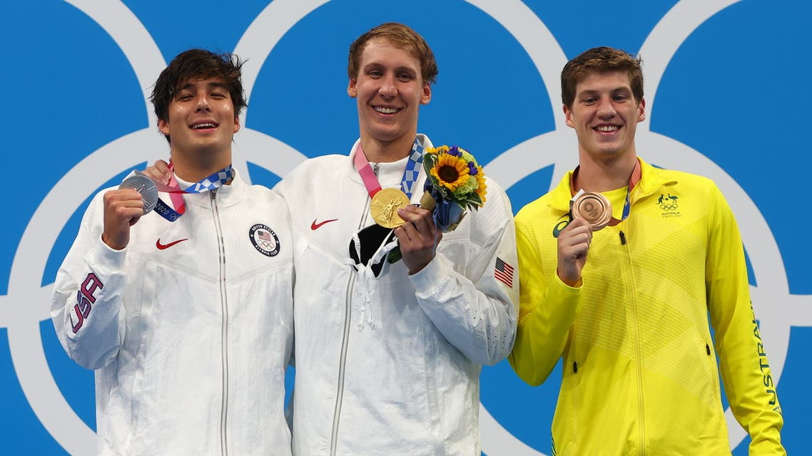 Gold medalist Chase Kalisz of the United States, silver medalist Jay Litherland of the United States and bronze medalist Brendon Smith of Australia pose on the podium. (Reuters)