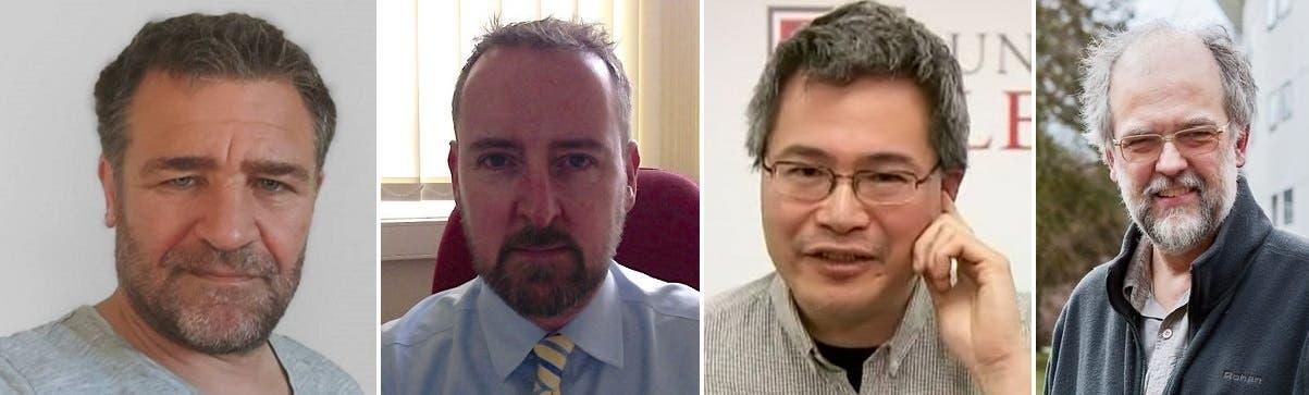 من اليمين، العلماء المختصون بالفيروسات، بول هانتر وجوليان تانغ وديفيد ماثيوس وفرنسوا بالوكس