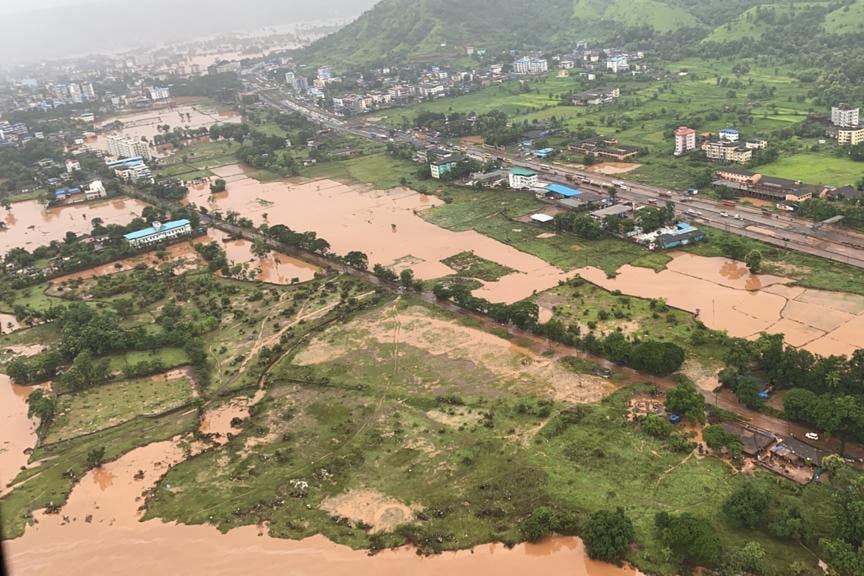 In this handout photo taken on July 23, 2021, by the Indian Navy shows areas inundated with flood water after heavy monsoon rains in Raigad district of Maharashtra. (AFP)