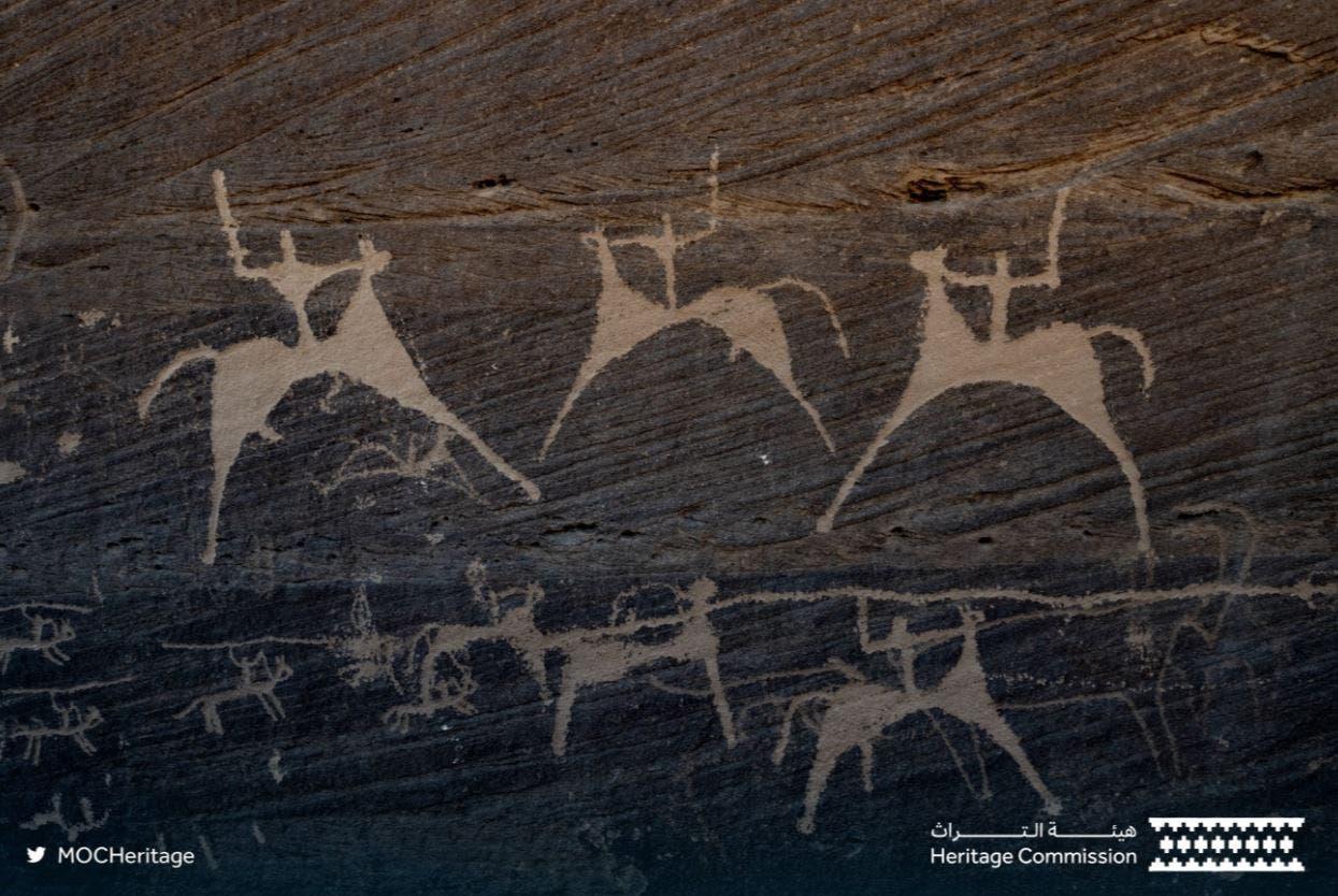 Rock inscriptions in Hima Cultural Area, Saudi Arabia. (Twitter)