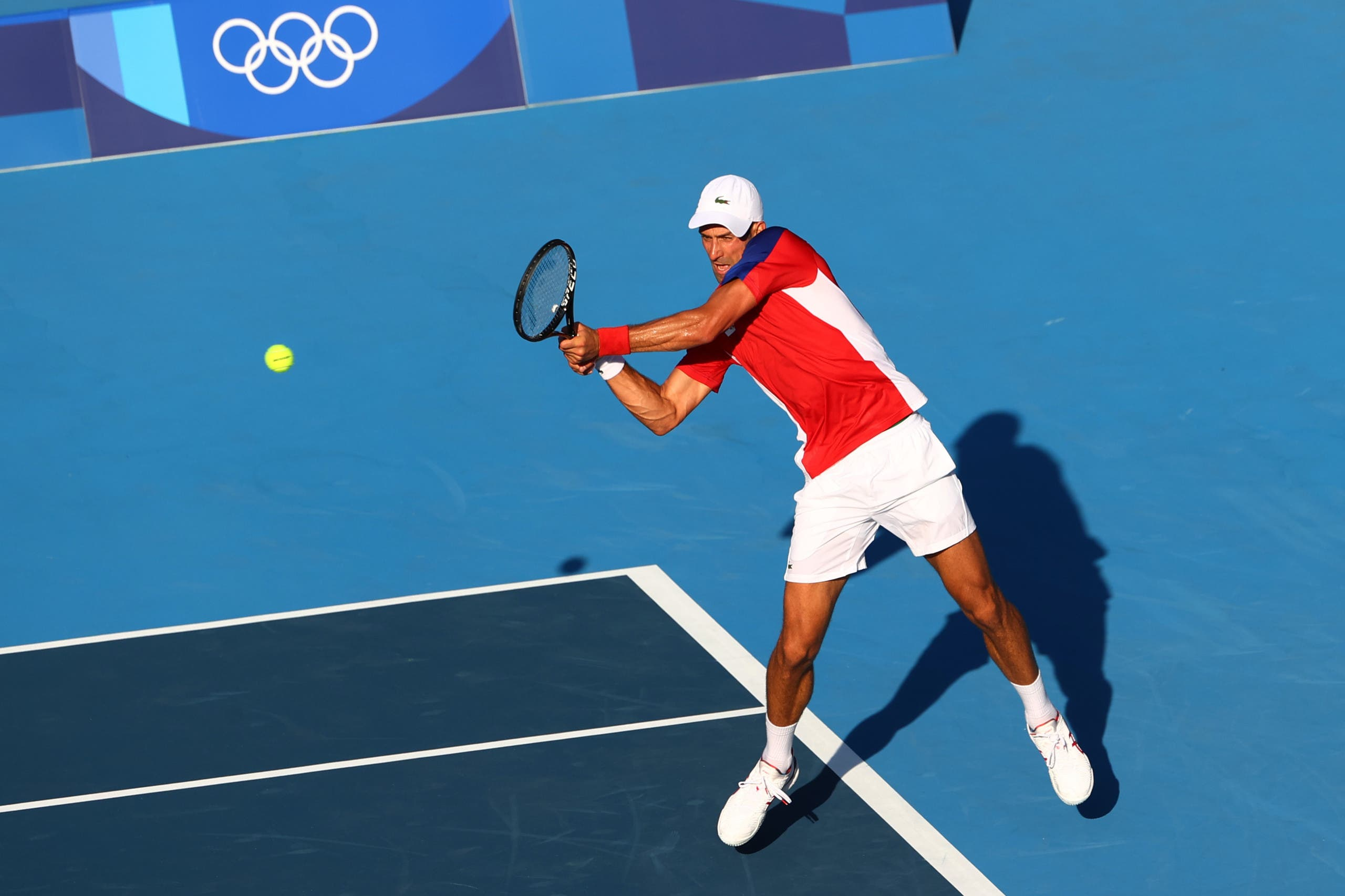Novak Djokovic of Serbia in action during his first round match against Hugo Dellien of Bolivia. (Reuters)
