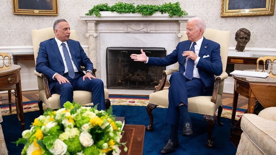 US President Joe Biden meets with Iraqi Prime Minister Mustafa Al-Kadhimi in the Oval Office of the White House, July 26, 2021. (AFP)