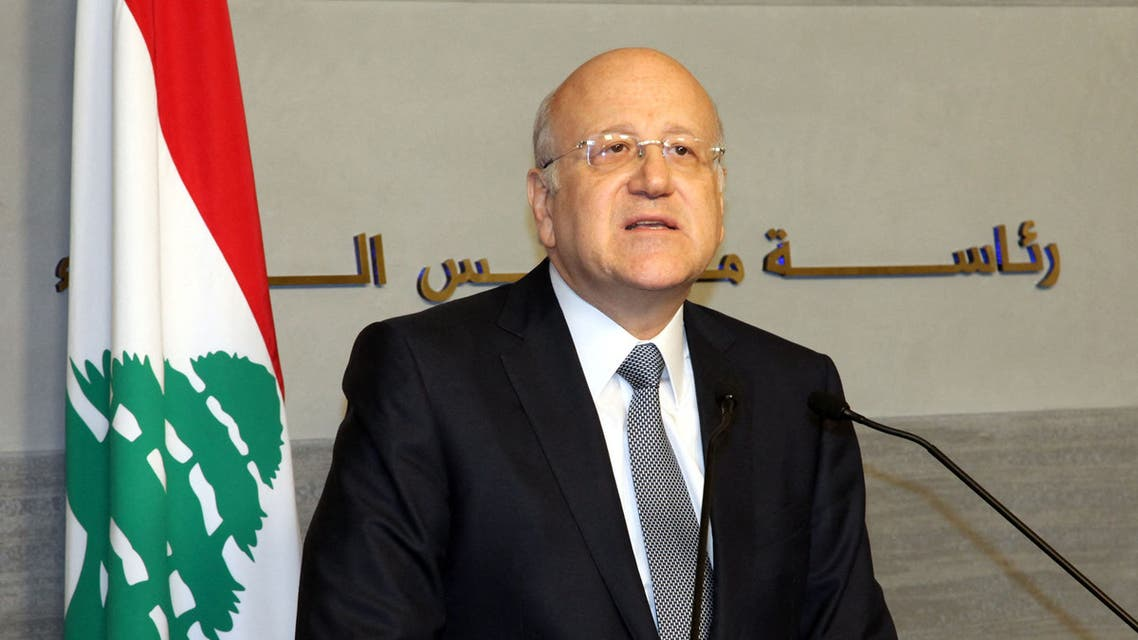 A handout picture released by Dalati and Nohra on March 22, 2013 shows Lebanese Prime Minister Najib Mikati announcing the resignation of the Lebanese government during a press conference in Beirut. AFP PHOTO / DALATI AND NOHRA -------- RESTRICTED TO EDITORIAL USE - MANDATORY CREDIT AFP PHOTO / HO / DALATI AND NOHRA - NO MARKETING - NO ADVERTISING CAMPAIGNS - DISTRIBUTED AS A SERVICE TO CLIENTS