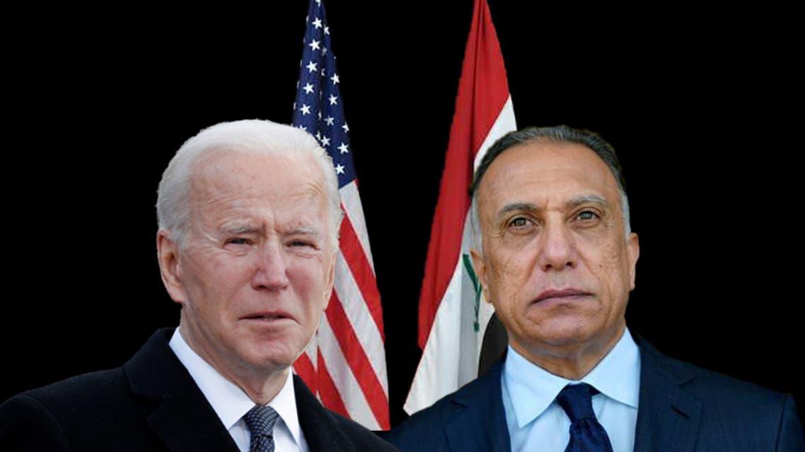 رئيس الوزراء العراقي مصطفى الكاظمي والرئيس الأميركي جو بايدن
