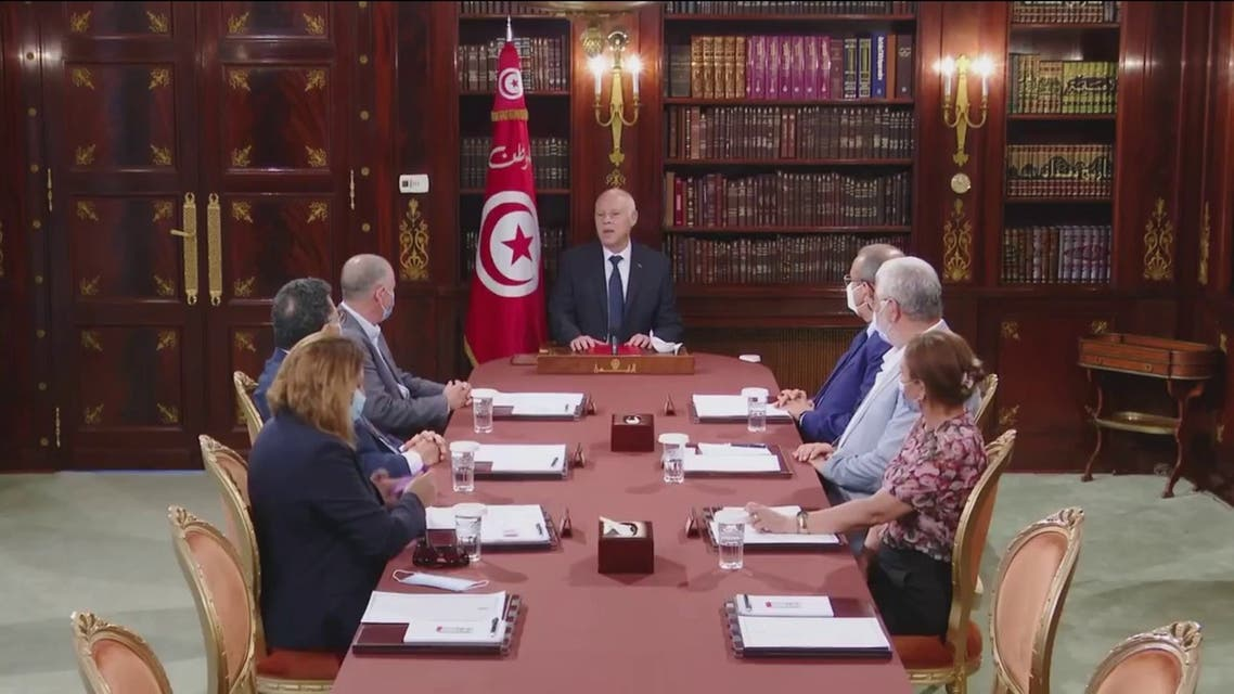 Tunisian President Kais Saied during a televised address on Monday. (Supplied)
