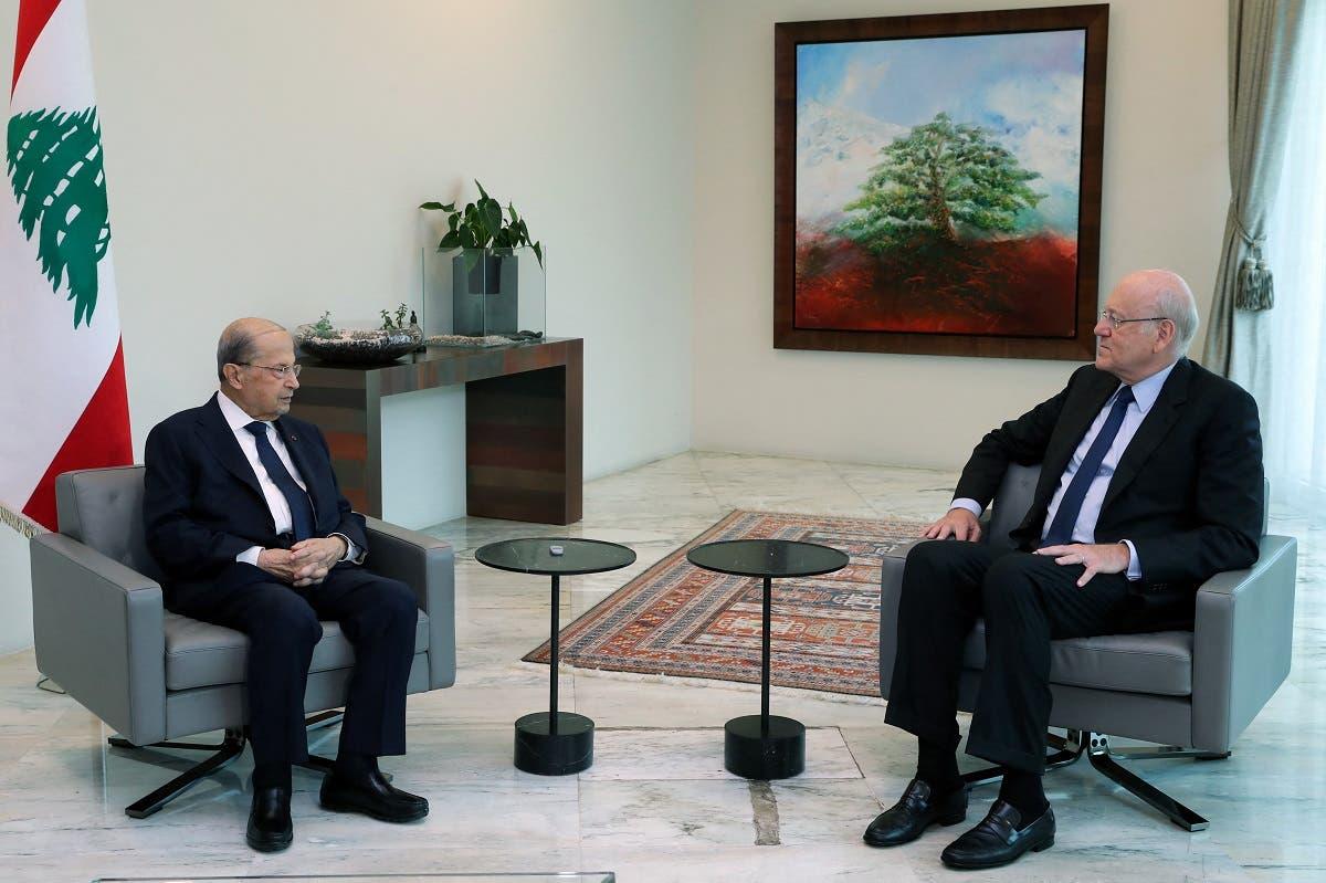 الرئيس اللبناني ميشال عون يستقبل نجيب ميقاتي لتكليفه بتشكيل الحكومة الاثنين الماضي